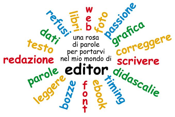 Una serie di parole che descrivono l'attività dell'editor di libri.