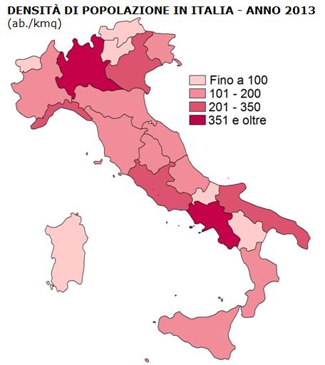 Carta tematica relativa alla densità di popolazione in Italia nel 2013