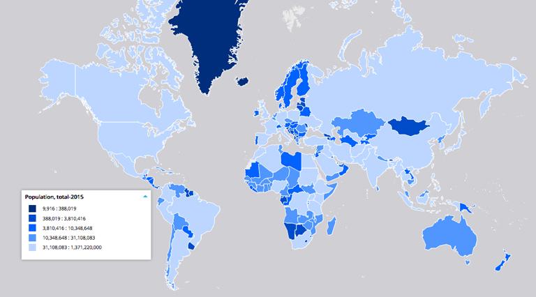La popolazione mondiale. Carta tematica.