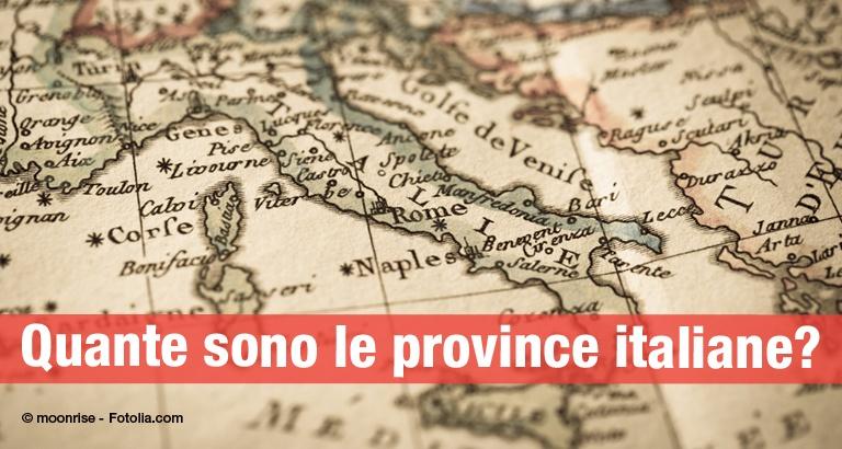 Quante sono le province italiane nel 2017 e quali sono le città metropolitane?