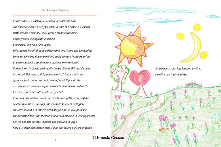 """Il divertente inizio del libro per bambini """"Il Bel Principe di Proprioqui"""" di Ernesto Cescon."""
